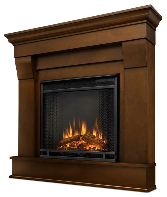 Chateau corner electric fireplace espresso contemporary for Indoor corner fireplace