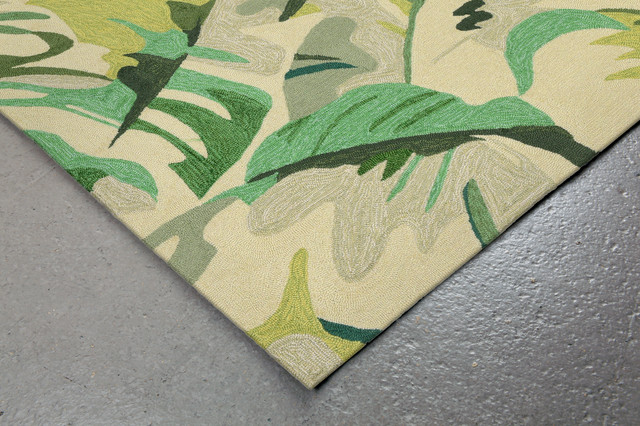 Capri Palm Leaf Rug, Green, 5&x27;x7&x27;6.