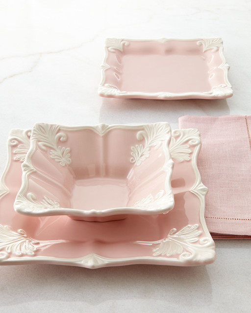 12-Piece Pink Square Baroque Dinnerware Service - PINK contemporary-dinnerware-sets