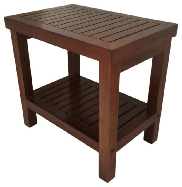 Ala Teak Wood Shower Bath Spa Waterproof Stool Bench With Shelf Brown Dark  Brown