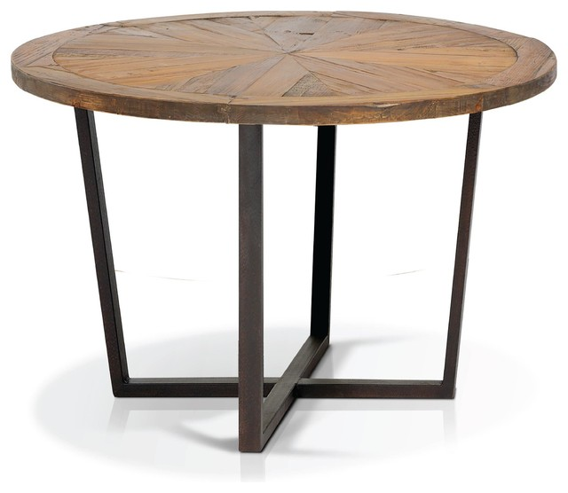Rustic Pine Wood Round Dining Table