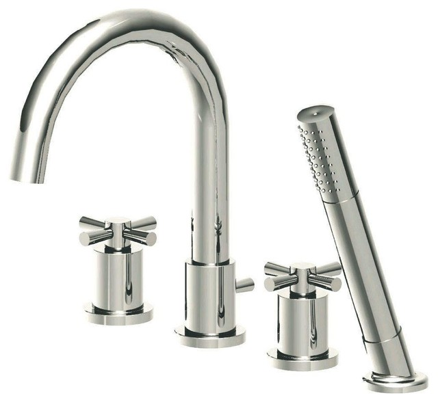 Modern Cross 2-Handle Deck-Mount Roman Tub Faucet with Diverter, Hand Shower and