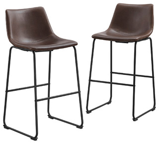Faux Leather Bar Stools Set Of 2 Contemporary Bar