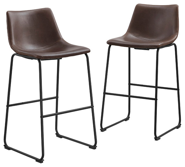 Bentley Bar Stools Set of 2 Brown contemporary-bar-stools-and  sc 1 st  Houzz & Faux Leather Bar Stools Set of 2 - Contemporary - Bar Stools And ... islam-shia.org