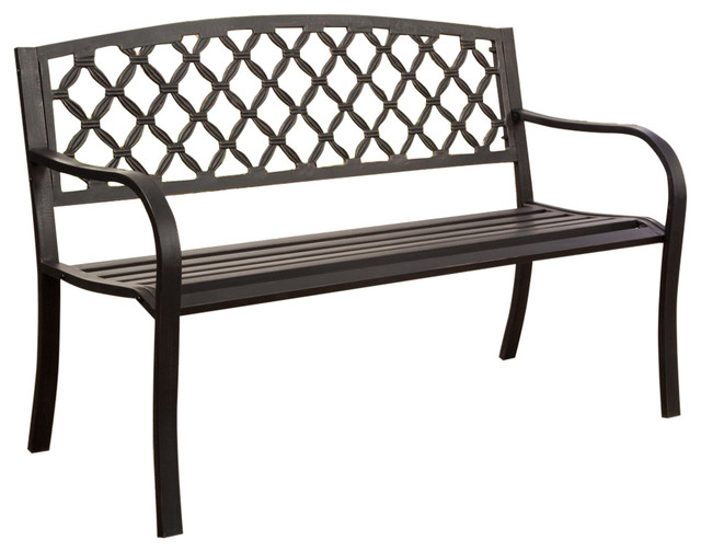 4 39 Metal Garden Bench With Bronze Highlights Over Antique Black Finish Outdoor Benches By