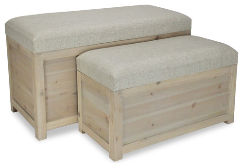 Storage Benches, Light Brown Wood, Beige Cushion, Hinged Lid, 2-Piece Set