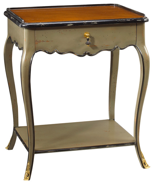 - Sade French Country Cherry Wood Light Blue Nightstand