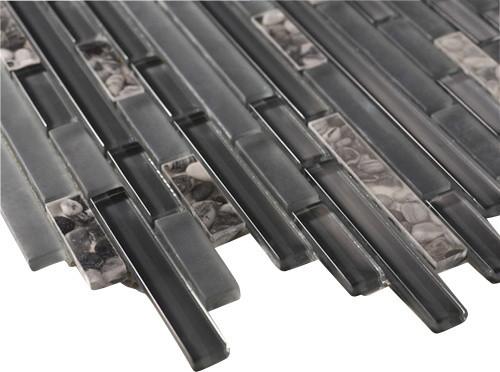 Zen Battleship Grey Polished Brick Marble Amp Glass Tile