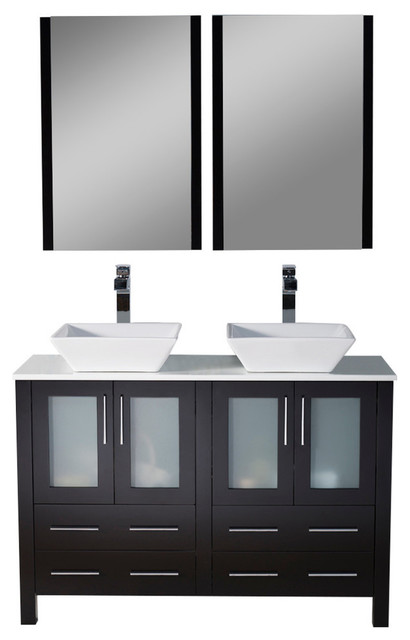 """Sydney 48"""" Double Vanity Set With Vessel Sinks And Mirrors, Espresso."""