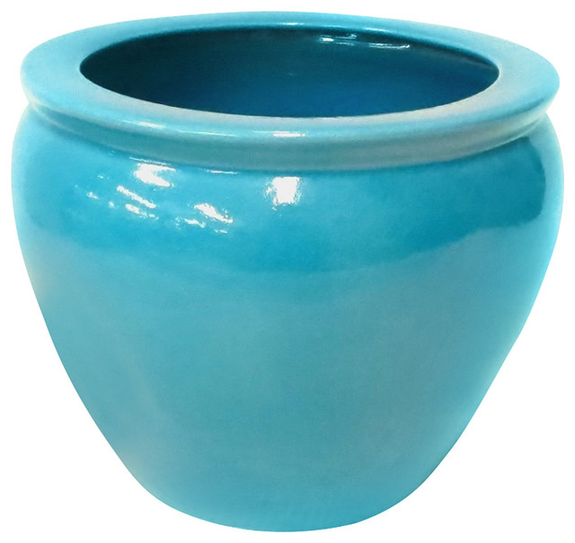 Bright Turquoise Porcelain Fish Bowl 12 Quot Transitional