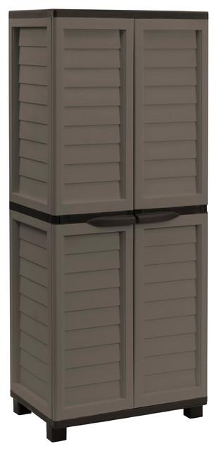 Starplast Storage Cabinet With 4 Shelves, Mocha/brown.
