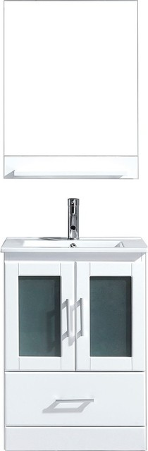 Zola White Vanity With Ceramic Top, Polished Chrome, With Mirror.