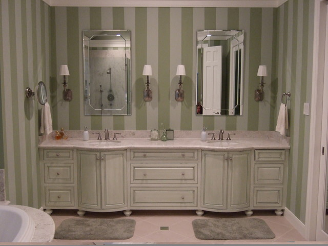 Master Bath With Hand Painted Stripes And Glazed Cabinets