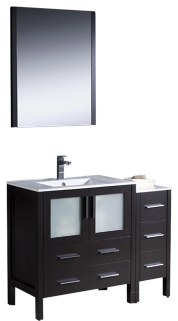 """Torino 42"""" Espresso Vanity, Side Cabinet And Integrated S Isarus Chrome Faucet."""