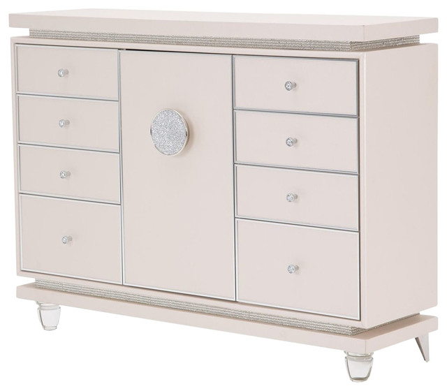Aico Michael Amini Glimmering Heights Upholstered Dresser, Without Mirror.