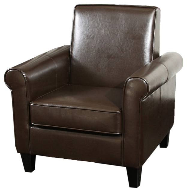 Larkspur modern design leather club chair contemporary for Modern leather club chair