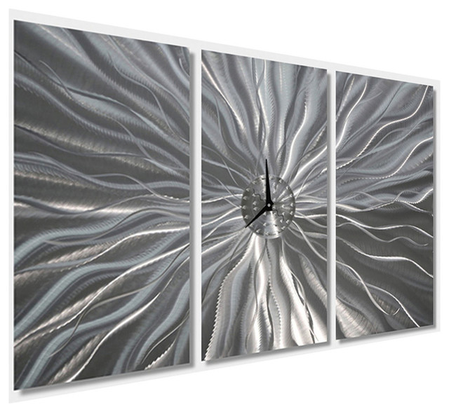 Large Silver Etched Contemporary Metal Art Wall Clock by Jon Allen ...