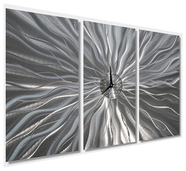 awesome Jon Allen Wall Art Part - 13: Large Metal Art Wall Clock Silver Contemporary Decor by Jon Allen, Static  Age - Contemporary - Wall Clocks - by Jon Allen Fine Metal Art