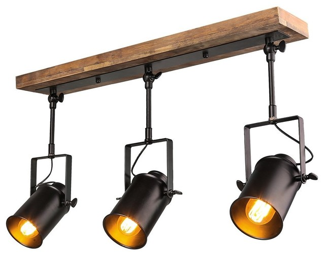 Industrial style wood ceiling track lighting spotlights 3 light industrial style wood ceiling track lighting spotlights 3 light track light industrial track mozeypictures Image collections