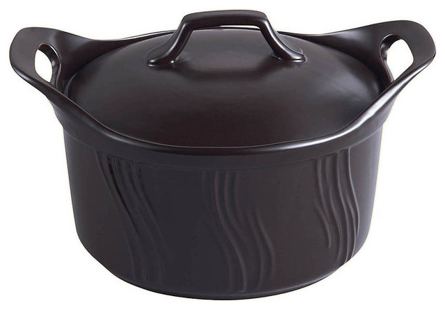 1.75 Quart Ceramic Casserole-Stovetop, Oven, Microwave, & Dishwasher Safe, Black.