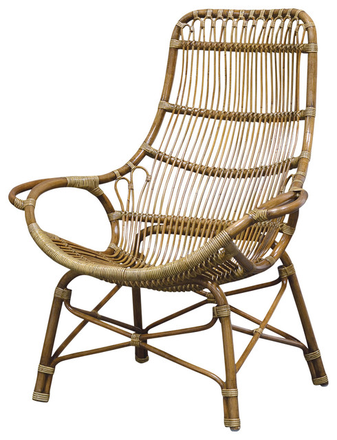 Palecek Retro Rattan High Back Lounge Chair