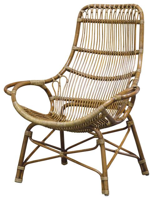 Great Palecek Retro Rattan High Back Lounge Chair