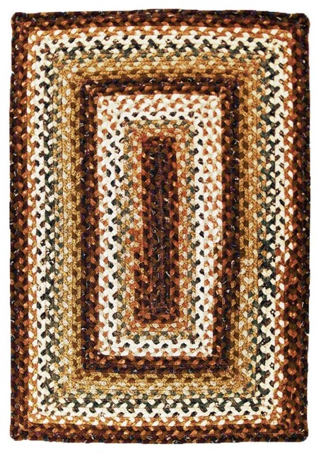 Homespice Decor Rocky Road Country Primitive Cotton Braided Rug Farmhouse