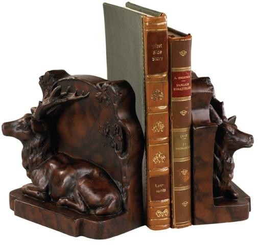 Bookends bookend laying stag deer cast resin traditional bookends by euroluxhome - Stag book ends ...