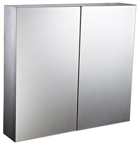"22"" Stainless Steel Double Doored Wall Mounted Mirrored Medicine Cabinet."