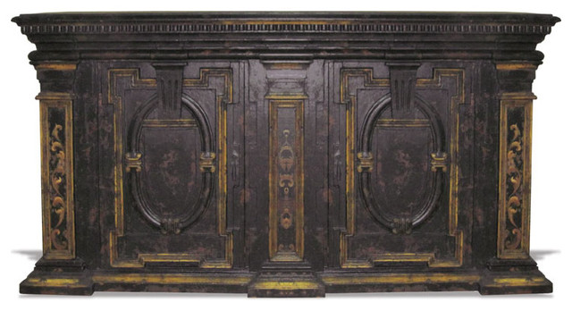 Medallion Buffet Black Baroque With Gold