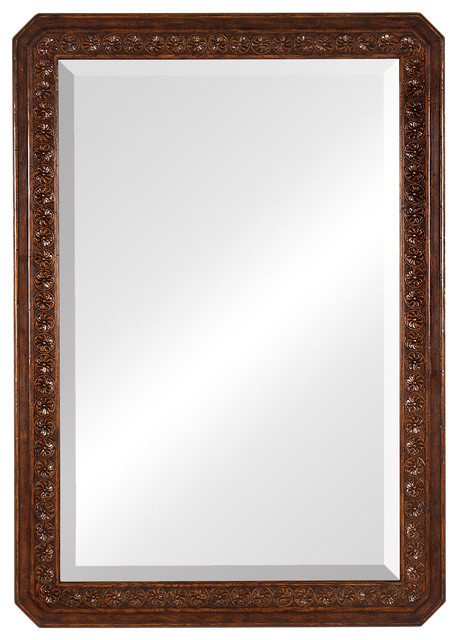 Jonathan Charles Dark Oak Rectangular Mirror With Carved Rosettes 493116  Traditional Wall Mirrors