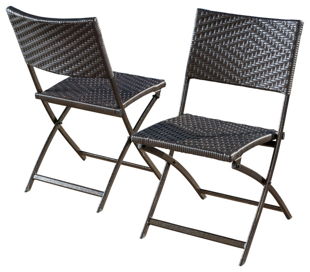 Gdfstudio jason outdoor brown wicker folding chair set of for Fold up garden chairs
