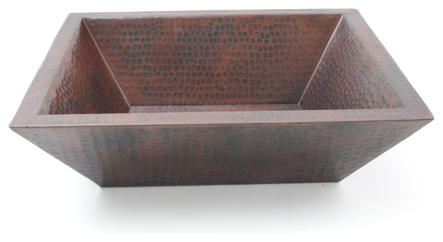 "18"" Rectangular Double Wall Hammered Copper Vessel Bar Sink."
