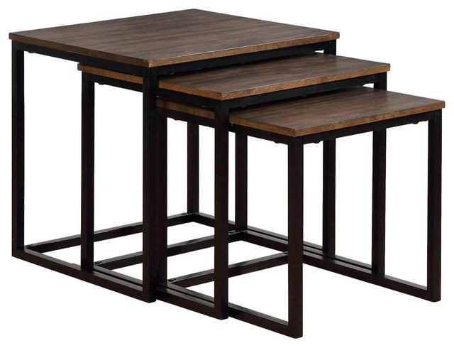 "Arcadia Acacia Wood 24"" Square Nesting End Tables"