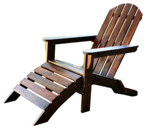 Outdoor Adirondack Chair With Footrest,brown.