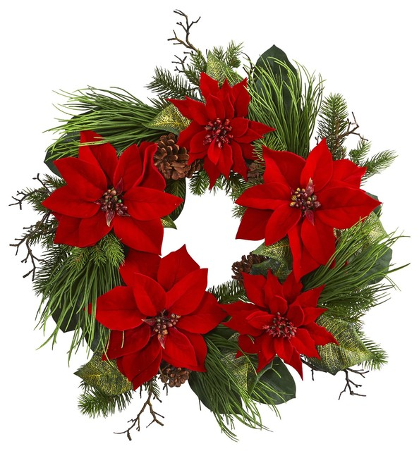 Silk Flowers -28 Inch Poinsettia And Pine Wreath Artificial Plant.