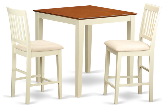 3 Piece Counter Height Table And Chair Set Pub Table And 2