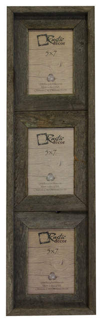 """Barstow Reclaimed Rustic Barn Wood Vertical Collage Frame, 5""""x7""""."""