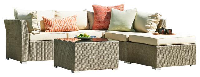 Jicaro 5 Piece Outdoor Wicker Sectional Sofa Set Natural Rustic