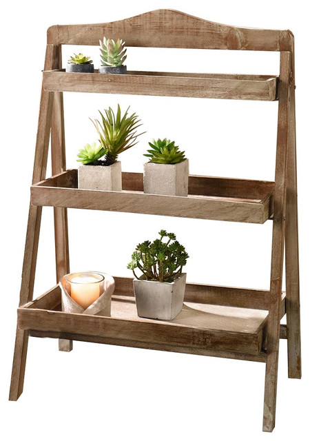 Foldable Wooden 3 Shelf Plant Stand Rustic