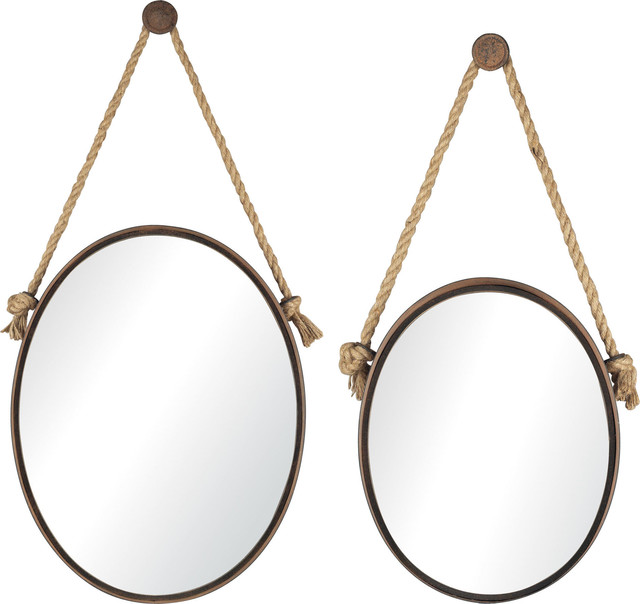 Oval Mirrors On Rope, Set Of 2, 53-8503.