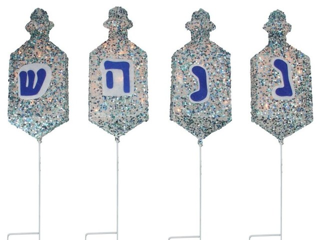 Lighted Dreidel Hanukkah Pathway Marker Outdoor Decorations, 4-Piece Set.