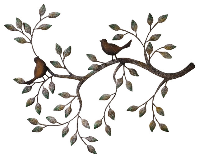 24 Branches Birds Decorative Metal Wall Sculpture  sc 1 st  Houzz & 24 Branches Birds Decorative Metal Wall Sculpture - Traditional ...