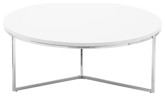 Armani Round Coffee Table, Glossy White Contemporary Coffee Tables