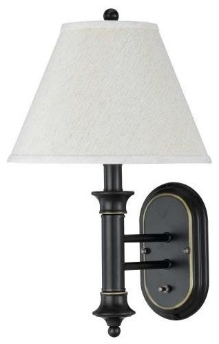 Metal Wall 60W Lamp W Push Plate Switch In Black Bronze Finish