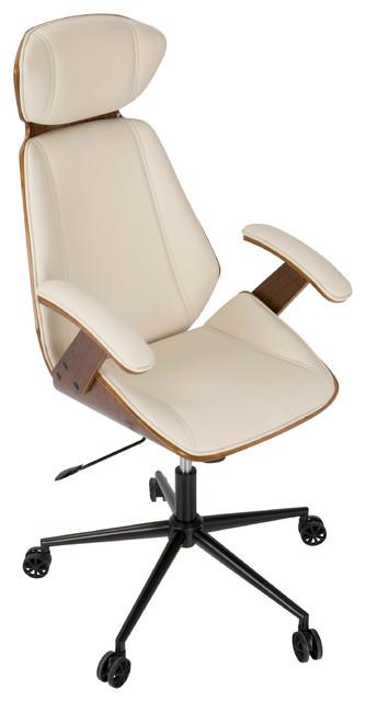 Lumisource Spectre Walnut Wood Office Chair Cream
