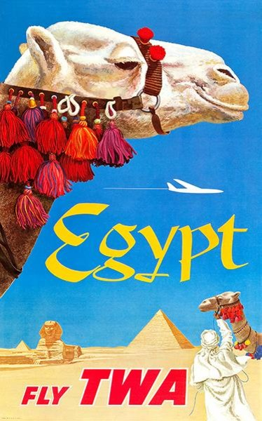 "EGYPT TWA Airline Travel 8.5/"" X 11/""   Poster"