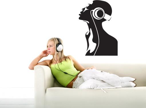 Dj Head Music Wall Decals, Sticker, Mural Vinyl Art Home Decor