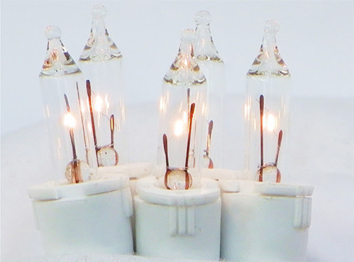 Set Of 100 Clear Perm-O-Snap Mini Christmas Lights 6 Spacing, White Wire.