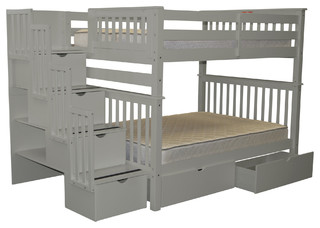 Bedz King Bunk Beds Full Over Full Stairway, 4 Steps and 2 Bed Drawers, Gray